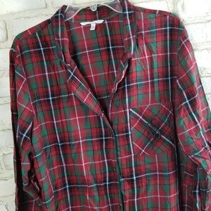 Victoria's Secret Sleevewear Top L Red Green Plaid